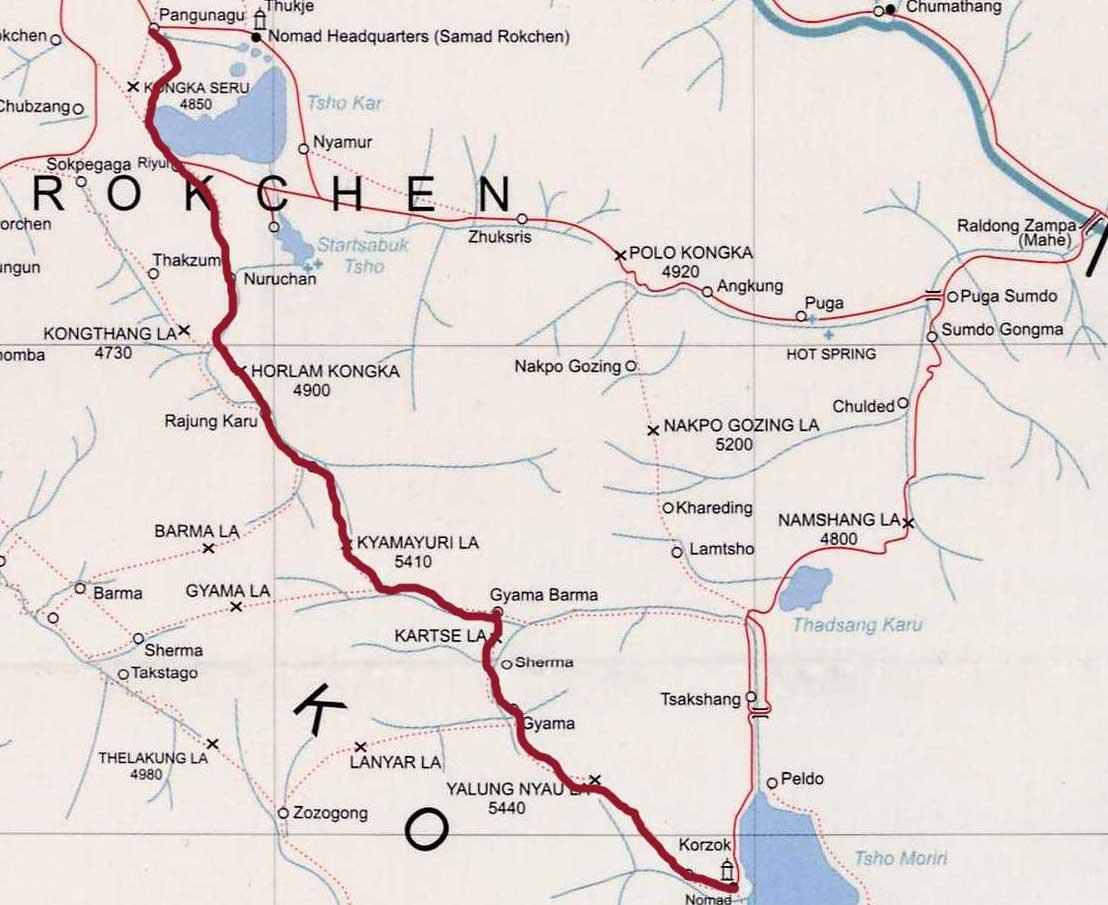 Teiletappe des Treks zwischen Tsokar und Tsomoriri