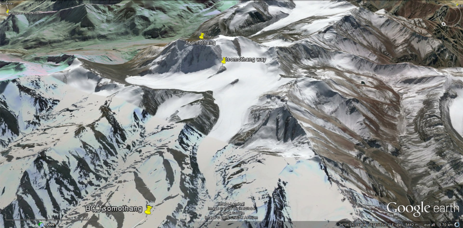 Tsomothang on Google Earth